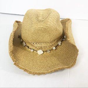 Straw Sun Hat Boho OS